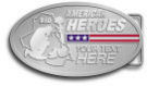 Ace Recognition Gold Buckle - with your text and logo - Military - Fallen Soldier Memorial - Iraq - American Flag - American Heroes, metal, navy