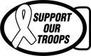 Military - Support our troops - ribbon, metal, navy