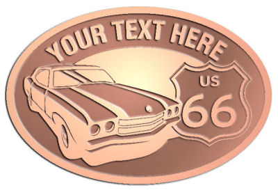 Custom Crest - customized and personalized your way - Car designs - US route 66 - vintage cars - classic cars - corvette - your text, route 66, route sixty six, route sixty-six, historic highway, historic road, mother road, transportation