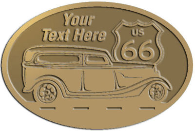 Custom Crest - customized and personalized your way - Car designs - US route 66 - vintage cars - classic cars - roadster - your text, route 66, route sixty six, route sixty-six, historic highway, historic road, mother road, transportation