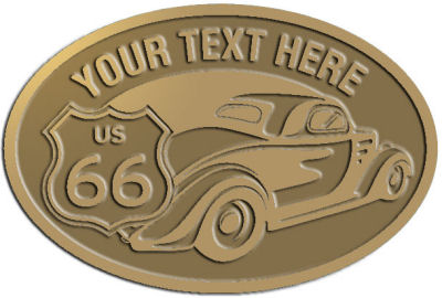 Custom Crest - customized and personalized your way - Car designs - US route 66 - vintage cars - classic cars - coupe - sports car - your text, route 66, route sixty six, route sixty-six, historic highway, historic road, mother road