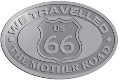 Custom Crest - customized and personalized your way - Route 66 - US 66 - historic - the mother road, route 66, route sixty six, route sixty-six, historic highway, historic road, mother road, metal