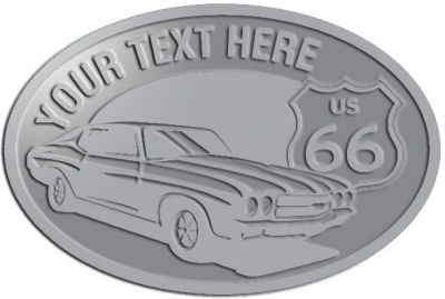 Custom Crest - customized and personalized your way - Car designs - US route 66 - vintage cars - classic cars - sports car - your text, route 66, route sixty six, route sixty-six, historic highway, historic road, mother road, transportation