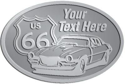 Custom Crest - customized and personalized your way - Car designs - US route 66 - vintage cars - sports car - your text, route 66, route sixty six, route sixty-six, historic highway, historic road, mother road, transportation, metal