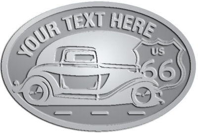 Custom Crest - customized and personalized your way - Car designs - US route 66 - vintage cars - classic cars - truck - pickup - your text, route 66, route sixty six, route sixty-six, historic highway, historic road, mother road, transportation