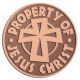 Ace Recognition Copper Coin, Lapel, Plaque - with your text and logo - Christian - Jesus - Property of Jesus Christ - cross - love - faith - religion  religious, metal