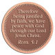 Ace Recognition Copper Coin, Lapel, Plaque - with your text and logo - Christian Designs - Therefore being justified by faith, we have peace with God through our Lord Jesus Christ.  Romans 5:1  religious, metal