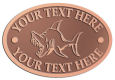 Ace Recognition Copper Crest, Lapel, Plaque - with your text and logo - Sports, mascots, sports, fish, sea creatures, sharks, teams, high school, college, university