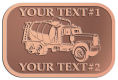 Ace Recognition Copper Crest, Lapel, Plaque - with your text and logo - cement truck, concrete, construction, heavy equipment, road construction, home renovation