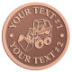 Ace Recognition Copper Coin, Lapel, Plaque - with your text and logo - bucket front loaders, wheel loaders, machinery , loaders, excavators, bulldozers
