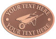 Ace Recognition Copper Crest, Lapel, Plaque - with your text and logo - wheelbarrows, wheel barrows, garden carts