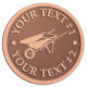 Ace Recognition Copper Coin, Lapel, Plaque - with your text and logo - wheelbarrows, wheel barrows, garden carts