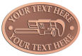 Ace Recognition Copper Crest, Lapel, Plaque - with your text and logo - Pipe wrenches, wrenches, wrench, tools, plumbers, plumbing