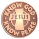 Ace Recognition Copper Coin, Lapel, Plaque - with your text and logo - Christian - Jesus - Know God - Know Peace - cross - love - faith - religion  religious, metal