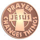 Ace Recognition Copper Coin, Lapel, Plaque - with your text and logo - Christian - Jesus - Prayer changes things - cross - love - faith - religion  religious, metal