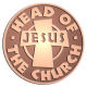 Ace Recognition Copper Coin, Lapel, Plaque - with your text and logo - Christian - Jesus - head of the church - cross - love - faith - religion  religious, metal