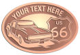 Ace Recognition Copper Crest, Lapel, Plaque - with your text and logo - Car designs - US route 66 - vintage cars - sports car - your text, route 66, route sixty six, route sixty-six, historic highway, historic road, mother road, transportation, metal