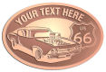 Ace Recognition Copper Crest, Lapel, Plaque - with your text and logo - Car designs - US route 66 - vintage cars - classic cars - sports car - hot rod - your text, route 66, route sixty six, route sixty-six, historic highway, historic road, mother road