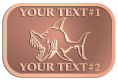 Ace Recognition Copper Crest, Lapel - with your text and logo - Sports, mascots, sports, fish, sea creatures, sharks, teams, high school, college, university