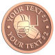 Ace Recognition Copper Coin, Lapel, Plaque - with your text and logo - ping pong, paddles, table tennis,  exercise, fitness, fun, games, racket, racquet, raquet, recreation, serve, set, sport, sporting