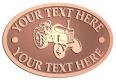 Ace Recognition Copper Crest, Lapel, Plaque - with your text and logo - tractors, farm equipment, farm machinery, farm machines, field implements, farm implements