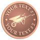 Ace Recognition Copper Coin, Lapel, Plaque - with your text and logo - wheelbarrows, wheel barrows, garden carts