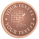 Ace Recognition Copper Coin, Lapel, Plaque - with your text and logo - chimney, masonry, bricklayers, bricklaying, brickmasons, blockmasons, stonemasons, brick trowels, bricks, chimneys, trowels