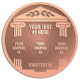 Ace Recognition Copper Buckle, Coin, KeyTag, Lapel, Medal, Pendant, Plaque - with your text and logo - greek pillars, greek temples, laurel, greek motifs