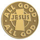 Ace Recognition Gold Coin, Lapel, Plaque - with your text and logo - Christian - Jesus - All Good All God - cross - love - faith - religion  religious, metal