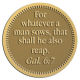 Ace Recognition Gold Coin, Lapel, Plaque - with your text and logo - Christian Designs - For whatever a man sows, that shall he also reap.  Galatians 6:7  religious, metal