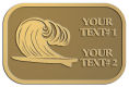 Ace Recognition Gold Crest, Lapel - with your text and logo - waves, surfboard, surfing, surfers, surf, tropical, tropics, water, wind, boarding, dynamic, energy, sea, speed, splash, sport