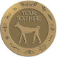 Ace Recognition Gold Buckle, Coin, Lapel, KeyTag, Medal, Pendant, Plaque - with your text and logo - egyptian, hieroglyphics, creatures, mythology, hound dogs