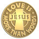 Ace Recognition Gold Coin, Lapel, Plaque - with your text and logo - Christian - Jesus - Love is more than words - cross - love - faith - religion  religious, metal