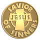Ace Recognition Gold Coin, Lapel, Plaque - with your text and logo - Christian - Jesus - savior of sinners - cross - love - faith - religion  religious, metal