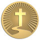 Ace Recognition Gold Coin, Lapel, Plaque - with your text and logo - Chrisitian Designs - road to cross - cross  religious, metal