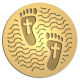 Ace Recognition Gold Coin, Lapel, Plaque, Buckle - with your text and logo - Recovery - footprints and crosses  religious, metal