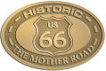 Ace Recognition Gold Crest, Lapel, Plaque - with your text and logo - Route 66 - US 66 - historic - the mother road, route 66, route sixty six, route sixty-six, historic highway, historic road, mother road, metal
