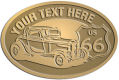 Ace Recognition Gold Crest, Lapel, Plaque - with your text and logo - Car designs - US route 66 - vintage cars - classic cars - roadster - your text, route 66, route sixty six, route sixty-six, historic highway, historic road, mother road, transportation