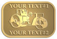 Ace Recognition Gold Crest, Lapel, Plaque - with your text and logo - asphalt paving machine, paver, roller, machinery, equipment, heavy, steam rollers, steamrollers, drum compactors