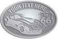 Ace Recognition Pewter Crest, Lapel, Plaque - with your text and logo - Car designs - US route 66 - vintage cars - classic cars - corvette - your text, route 66, route sixty six, route sixty-six, historic highway, historic road, mother road, transportation