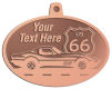 Ace Recognition Copper KeyTag, Medal, Pendant - with your text and logo - Car designs - US route 66 - vintage cars - corvette - sports car - your text, route 66, route sixty six, route sixty-six, historic highway, historic road, mother road, transportation
