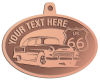 Ace Recognition Copper KeyTag, Medal, Pendant - with your text and logo - Car designs - US route 66 - vintage cars - classic cars - roadster - your text, route 66, route sixty six, route sixty-six, historic highway, historic road, mother road, transportation