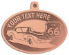 Ace Recognition Copper KeyTag, Medal, Pendant - with your text and logo - Car designs - US route 66 - vintage cars - classic cars - corvette - sports car - your text, route 66, route sixty six, route sixty-six, historic highway, historic road, mother road, transportation