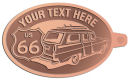 Ace Recognition Copper KeyTag - with your text and logo - Car designs - US route 66 - vintage cars - classic cars - corvette - sports car - your text, route 66, route sixty six, route sixty-six, historic highway, historic road, mother road, transportation
