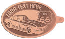 Ace Recognition Copper KeyTag - with your text and logo - Car designs - US route 66 - vintage cars - corvette - classic cars - sports car - your text, route 66, route sixty six, route sixty-six, historic highway, historic road, mother road, transportation