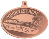 Ace Recognition Copper KeyTag, Medal, Pendant - with your text and logo - Car designs - US route 66 - vintage cars - classic cars - corvette - your text, route 66, route sixty six, route sixty-six, historic highway, historic road, mother road, transportation