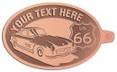 Ace Recognition Copper KeyTag - with your text and logo - Car designs - US route 66 - vintage cars - classic cars - sports car - your text, route 66, route sixty six, route sixty-six, historic highway, historic road, mother road, transportation