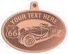 Ace Recognition Copper KeyTag, Medal, Pendant - with your text and logo - Car designs - US route 66 - vintage cars - classic cars - convertible - sports car - your text, route 66, route sixty six, route sixty-six, historic highway, historic road, mother road
