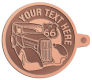 Ace Recognition Copper KeyTag - with your text and logo - Car Designs - US route 66 - classic car- roadster - sports car - vintage cars - your text, route 66, route sixty six, route sixty-six, historic highway, historic road, mother road