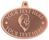 Ace Recognition Copper KeyTag, Medal, Pendant - with your text and logo - Sports, mascots, lions, cats, high school, college, university